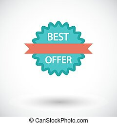Best Offer Single flat icon on white background Vector...