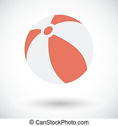 Beach ball Single flat icon on white background Vector...