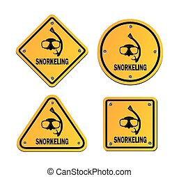 snorkeling roadsigns - suitable for illustrations