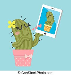 couple of cactus video chatting on tablet - loving couple of...