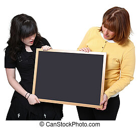Teacher and Student with Chalkboard