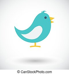 Bird icon. - Bird. Single flat icon on white background....