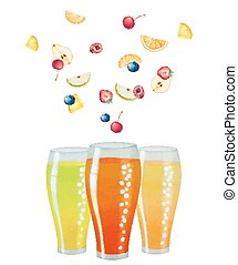 Fruit drink in glasses and fruit, watercolor vector...