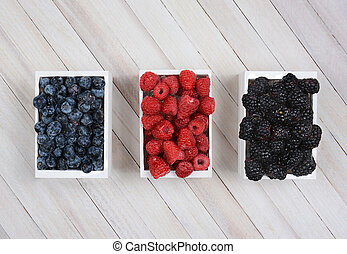 Mini Crates of Berries - Three mini wood crates of berries...