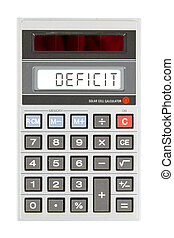 Old calculator - deficit - Old calculator showing a text on...