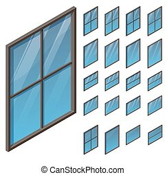 windows in isometric view - Different types of windows in...