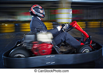 Karting businessman - Man karting in formalwear
