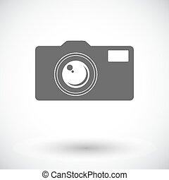 Icon camera. - Camera. Single flat icon on white background....