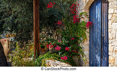 Entrance to a traditional house. Lofou village, Limassol...