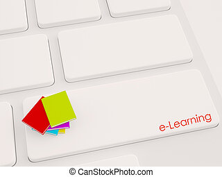 3d render of multiple books on the keyboard, e-learning...