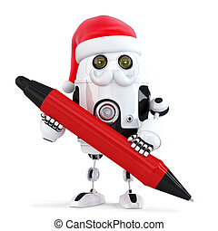 Robot Santa holding a pen. Isolated. Contains clipping path