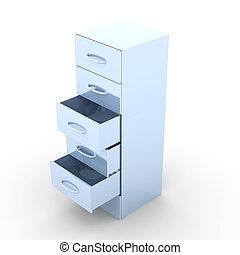 Metal Filing Cabinet - 3D rendered Illustration. Isolated on...