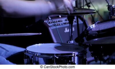 Drummer closeup - Drummer play on drum set