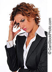 Stressed Business Woman with a Headache - A stressed...