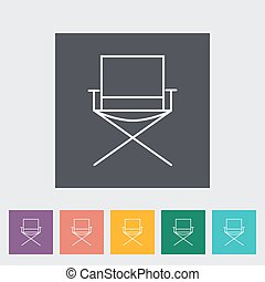 Camping chair Outline icon on the button Vector illustration...