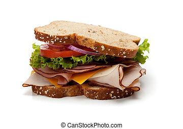 A turkey sandwich on whole-grain bread