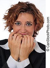 nervioso, empresa / negocio, mujer, persona asquerosa, como,...