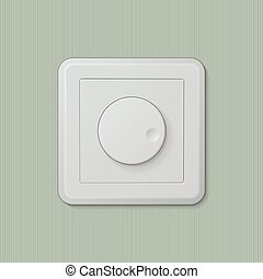 Light switch dimmer 06 - Realistic plastic white dimmer...