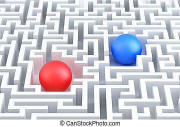 Two Spheres in a maze. Conceptual illustration.