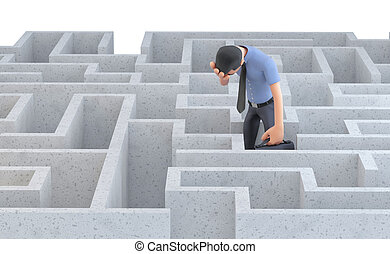 Depressed businessman standing in the middle of a maze. Isolated