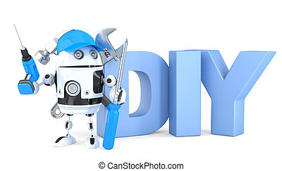 3d robot with DIY sign. Isolated. Contains clipping path