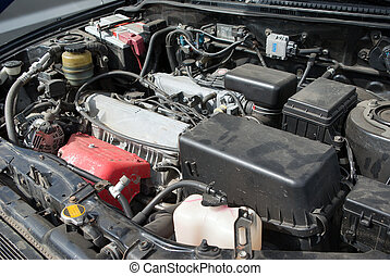 under the hood of a car - automobile old mechanismunder the...