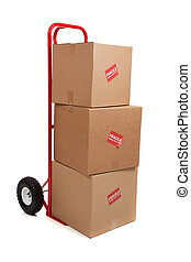 a red hand truck on white with boxes - A red hand...