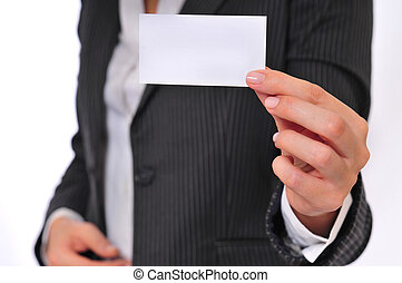 Business Woman Showing a Blank Business Card
