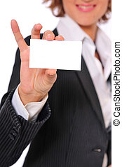Business Woman Showing a Blank Business Card With Smiling Vertical