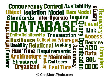 Database wordcloud on white background
