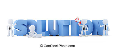Group of businesspeople with SOLUTION sign. Business concept.Isolated. Contains clipping path.
