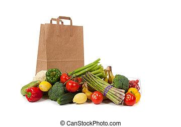 tienda de comestibles, vegetales, saco, variado