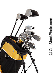 Golf clubs and bag on white - golf clubs and bag on a white...