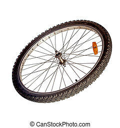 Bicycle wheel isolated over white
