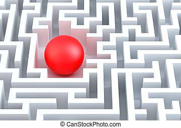 Red sphere in an abstract maze.