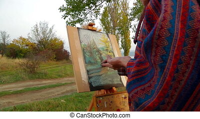 Brown Haired Woman Drawing A Picture At Plein Air - Portrait...
