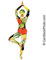 healthy lifestyle - Silhouette of sportsman from vegetables