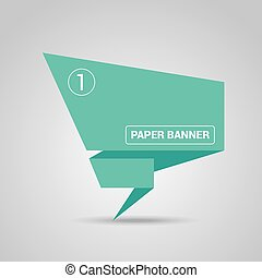 turquoise origami paper speech bubble or banner