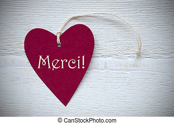 Red Heart Label With French Text Merci Means Thank You - One...
