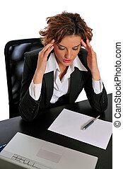 Business Woman Taking a Break to De-stress - Business woman...