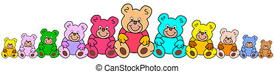 line of teddies - line of colorful teddy bears