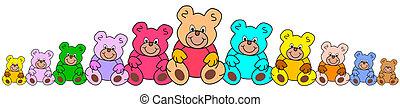 line of teddies - line of colorful teddy bears