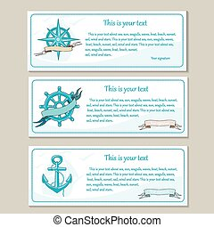 Set of travel banners Sea nautical design - Set of travel...