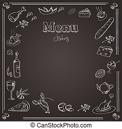 Menu design with a chalk board texture - Menu design with a...