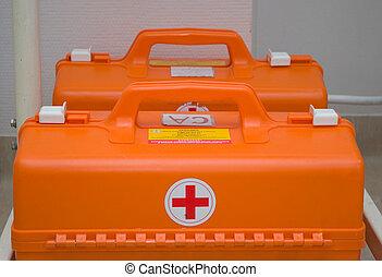 set paramedics.medical equipment in hospital.