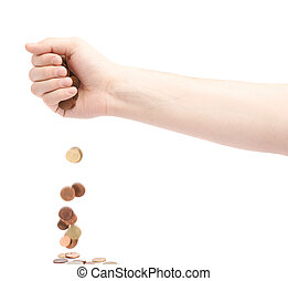 Hand dropping multiple change coins, composition isolated...