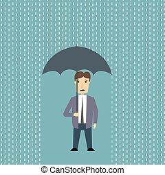 Worried man in rain