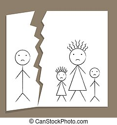 Family Breakup - Concept of family breakup in divorce and...