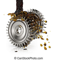 Greasing cogwheels isolated on white. 3d render