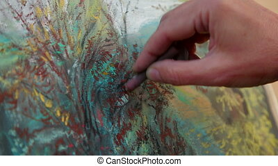 Close-up Footage. Painter Drawing A Picture of Autumn...